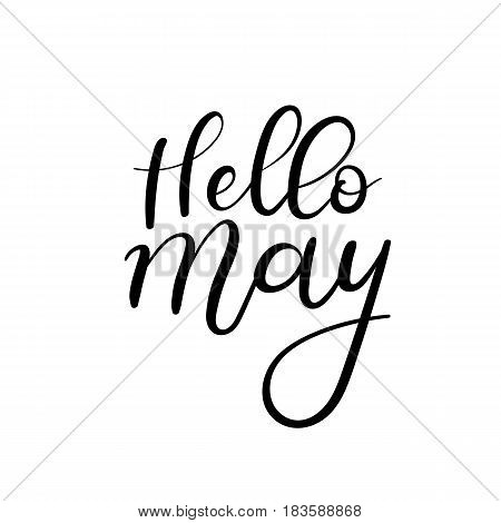 Hello May calligraphy inscription. Spring greeting card postcard card invitation banner template with floral frame. Brush calligraphy. Spring hand lettering typography.