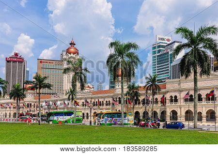 KUALA LUMPUR, MALAYSIA - OCTOBER 26, 2012: Sultan Abdul Samad Building in Merdaka Square in the cosmopolitan city of Kuala Lumpur Malaysia