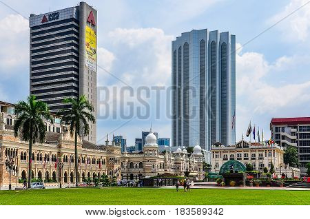 KUALA LUMPUR, MALAYSIA - OCTOBER 26, 2012: Merdaka Square in the cosmopolitan city of Kuala Lumpur Malaysia
