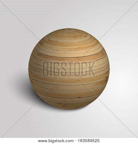 Scope of wood. Wooden sphere. Wood texture. Vector illustration