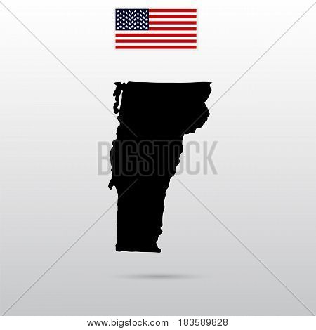 Map of the U.S. state of Vermont. American flag