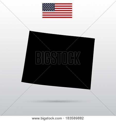 U.S. state on the U.S. map Wyoming. American flag