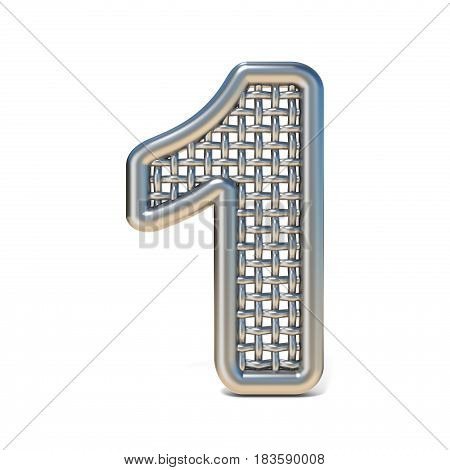 Outlined Metal Wire Mesh Font Number 1 One 3D