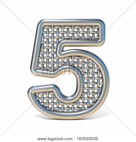 Outlined Metal Wire Mesh Font Number 5 Five 3D