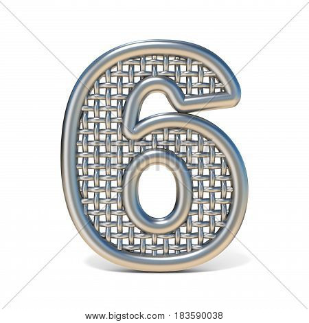 Outlined Metal Wire Mesh Font Number 6 Six 3D