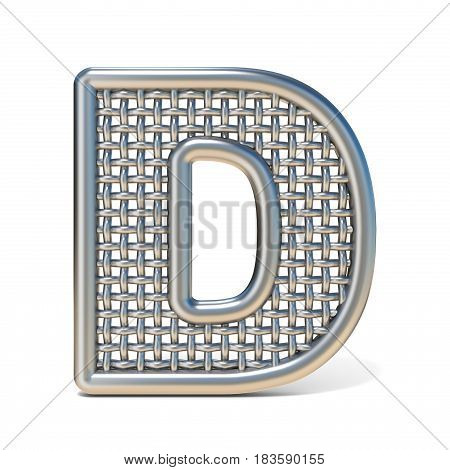Outlined Metal Wire Mesh Font Letter D 3D