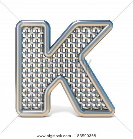 Outlined Metal Wire Mesh Font Letter K 3D