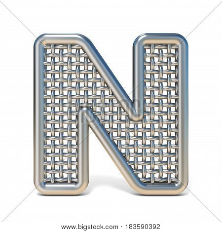Outlined Metal Wire Mesh Font Letter N 3D