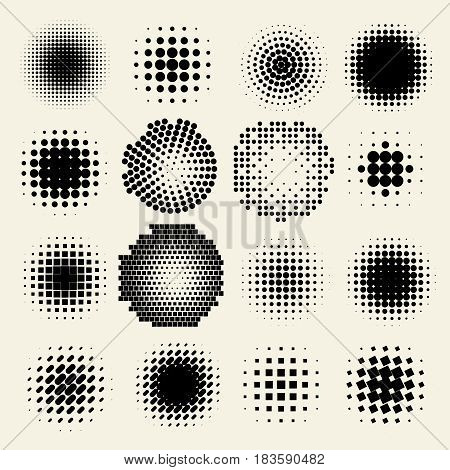 Collection of halftone dot sphere vector logo set. Abstract globe symbol, isolated round icon, business concept .You can use science and technology, tourism, global financial or environmental background.