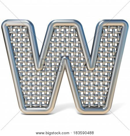 Outlined Metal Wire Mesh Font Letter W 3D