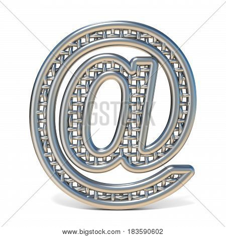 Outlined Metal Wire Mesh Font Mail At Sign 3D