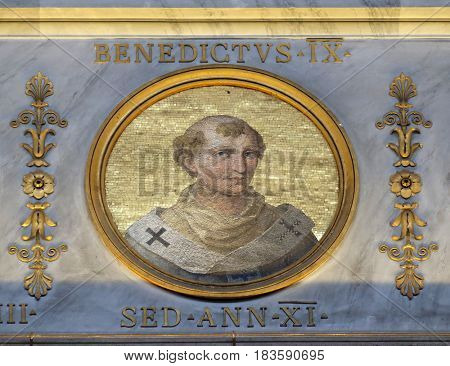 ROME, ITALY - SEPTEMBER 05, 2016: Pope Benedict IX, born Theophylactus of Tusculum in Rome, was Pope on three occasions between 1032 and 1048, basilica of Saint Paul Outside the Walls, Rome, Italy.