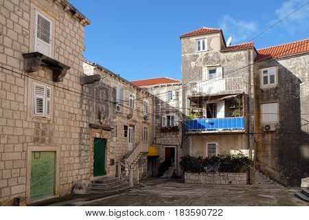 KORCULA, CROATIA - NOVEMBER 09: Square of the Holy Justine in Korcula old town, Croatia. Korcula is a historic fortified town on the island of Korcula. on November 09, 2016.