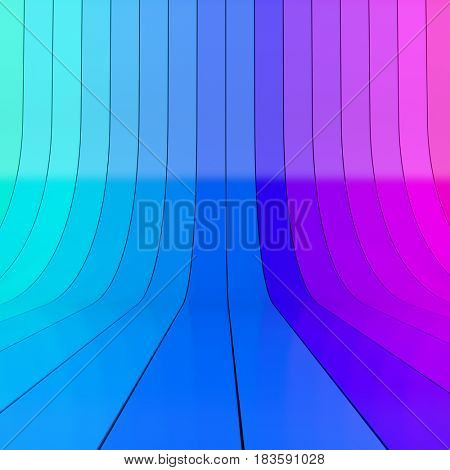 Abstract blue and magenta rolled up plastic stripes studio background. 3D rendering.
