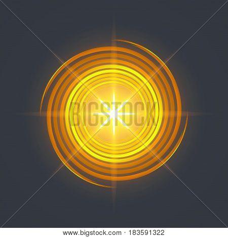 yellow swirl spiral like galaxy and shine in center