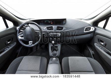 Modern car interior inside. New technologies in work
