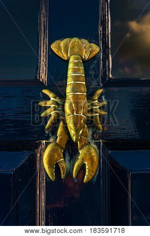 Old Wooden Door To The House With Brass Knob Shaped Lobster, Sea Element, Vintage Decor