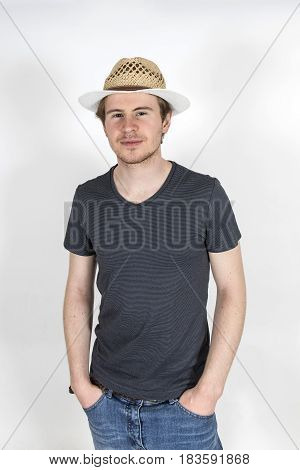 Smiling Young Man With Sunhat