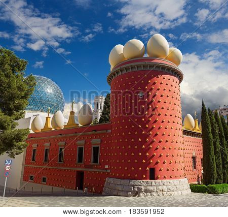 Figueres Spain - 30 March 2017: Theatre Museum of Salvador Dali in sunny weather over beautiful sky. Museum of Salvador Dali is very popular touristic place in Spain.