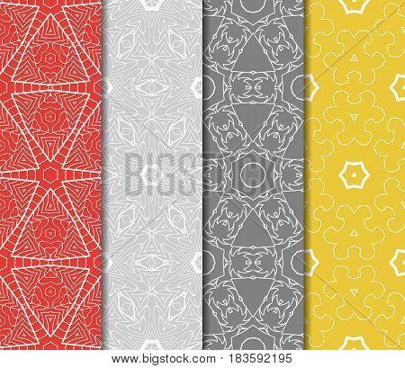 Seamless Set Floral Pattern. Vector Illustration. For Design, Wallpaper, Background Fills, Fill, Car