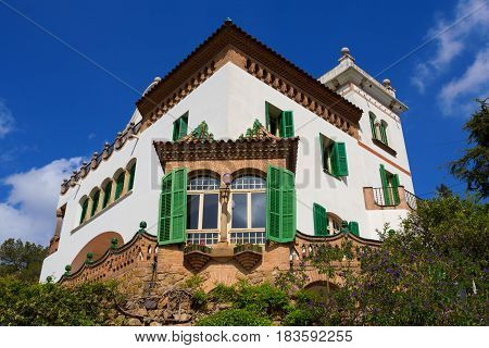 Barcelona Spain - 26 March 2017: Antonio Gaudi's Casa Trias in Park Guell Barcelona