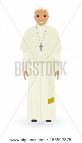 Pope character in soutane isolated on a white background. Supreme catholic priest stand alone in a everyday cassock. Religion people concept. Vector illustration.