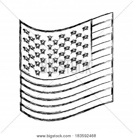 monochrome sketch of small flag of the united states vector illustration