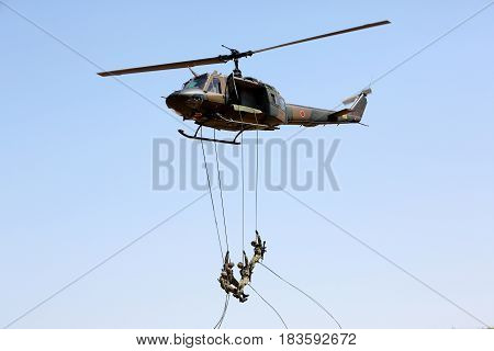 Kagawa, Japan - April 23, 2017: helicopter at an air show near the city of Zentuji, Kagawa, Japan Self Defense Forces