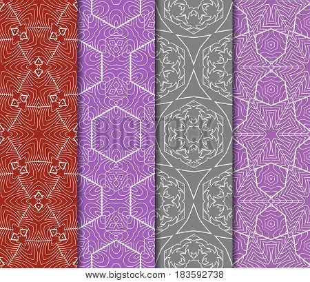 Set Of Floral Ornament. Seamless Vector Pattern. Interior Decoration, Wallpaper, Invitation, Fashion