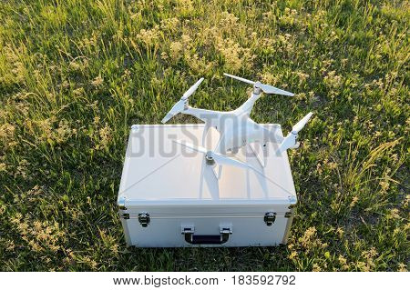 Drone before the flight on a transport metal bag