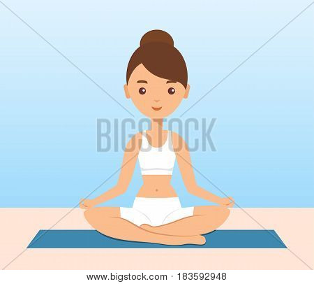 Female character sitting in lotus yoga pose. Woman icon in flat design. Sukhaasan. Yoga concept. Vector illustration.