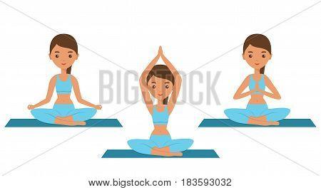Yoga. Lotus posture. Flat women sitting in yoga pose Sukhasana. Female character icon. Vector illustration.