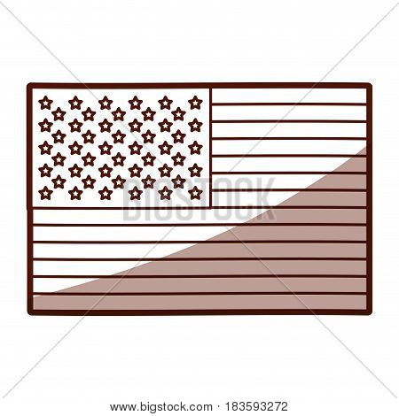 monochrome silhouette of flag the united states with half shadow vector illustration