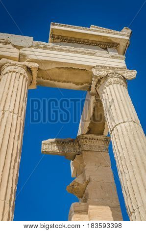 Ancient ruins of Erechtheum closeup Acropolis Athens