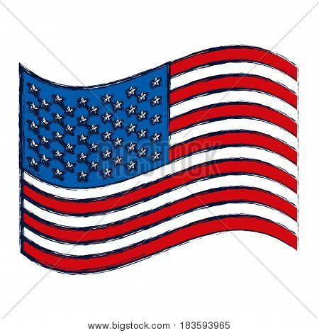 watercolor silhouette of waving flag of the united states vector illustration