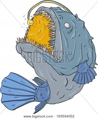 Drawing sketch style illustration of an Anglerfish of teleost order Lophiiformes that are bony fish named for their characteristic mode of predation which a fleshy growth from fish's head (the esca or illicium) acts as a lure swooping up viewed from the s