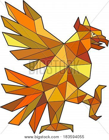 Low polygon style illustration of a glifo from the azteca's culture of a Cuauhtli showing an eagle in a fighting stance viewed from the side set on isolated white background.