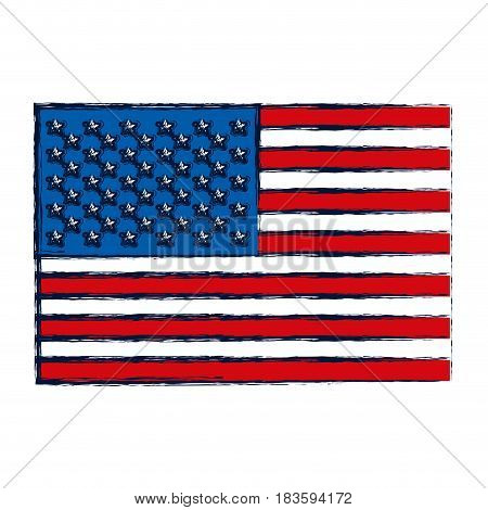 watercolor silhouette of flag the united states vector illustration