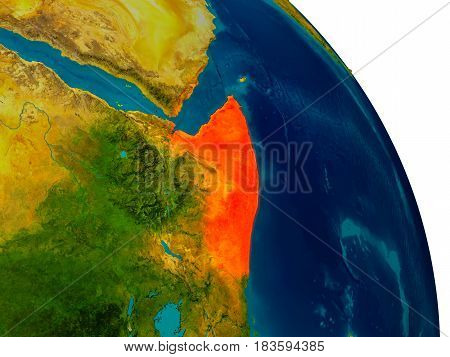 Somalia On Model Of Planet Earth