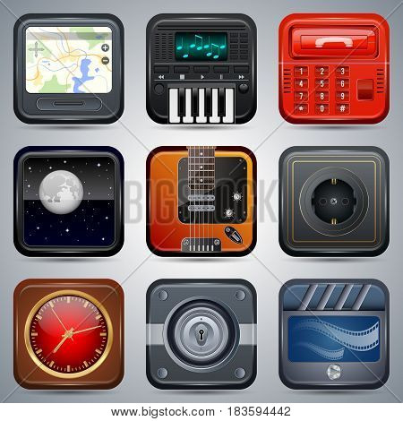 Square colorful computer and mobile application icons vector set