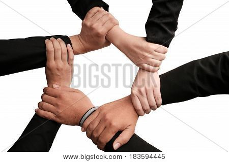 Isolated Group of Diverse Hands Together of Business Staff on White Background Team Work Concept