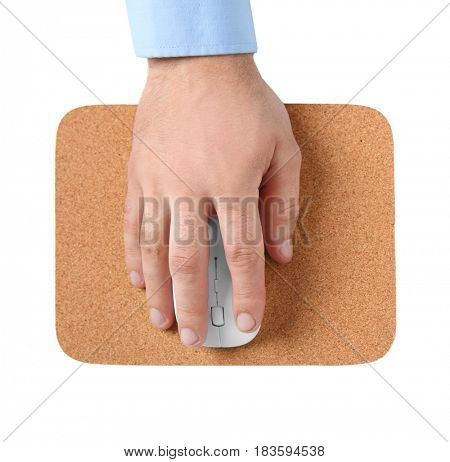 Male hand with computer mouse and pad on white background, closeup