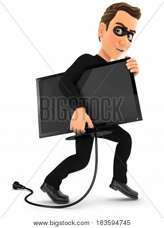 3d thief stealing a television illustration with isolated white background
