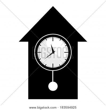 black silhouette with cuckoo clock vector illustration