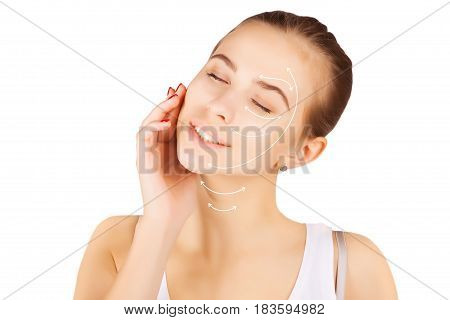gorgeous brown eyed blond model portrait with skin surgery mark