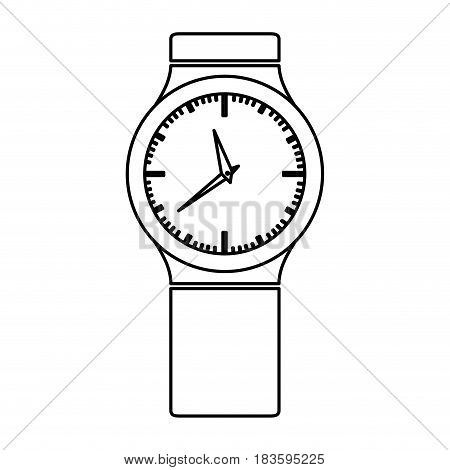 monochrome contour with small male wristwatch vector illustration