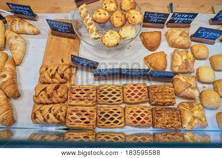 SAINT PETERSBURG, RUSSIA - CIRCA APRIL, 2017: baked goods on display in Provence bakery on Ho Chi Minh Street.