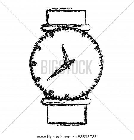 monochrome blurred silhouette of female wristwatch vector illustration