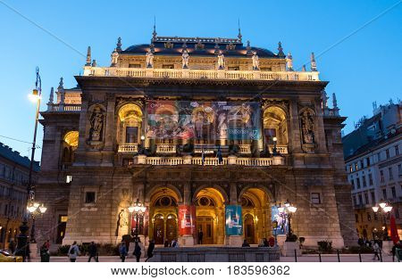 Budapest, Hungary - March 13, 2017: Hungarian State Opera building in night with backlighting against the blue sky