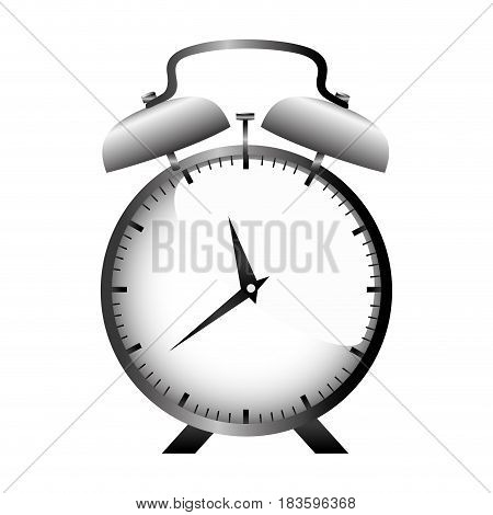 realistic graphic with gray alarm clock vector illustration